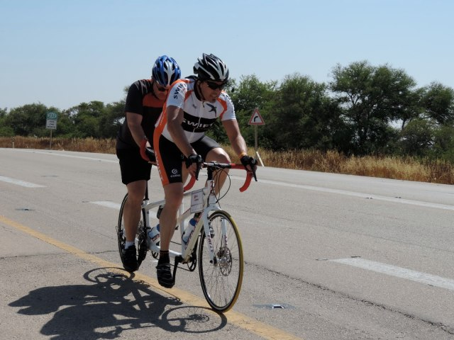 Derek and Rick on Tandem Bike